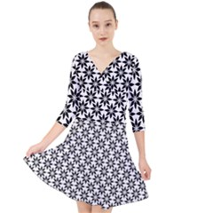 Ornamental Abstract Quarter Sleeve Front Wrap Dress
