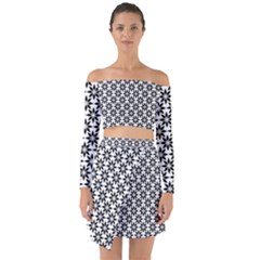 Ornamental Abstract Off Shoulder Top With Skirt Set