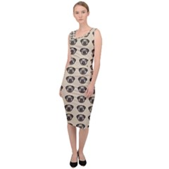 Puppy Dog Pug Sleeveless Pencil Dress