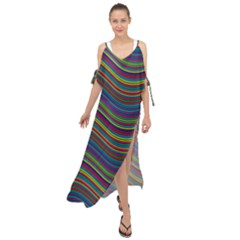 Ornamental Line Abstract Maxi Chiffon Cover Up Dress by Alisyart