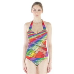 Perspective Background Color Halter Swimsuit by Alisyart