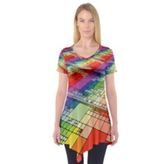 Perspective Background Color Short Sleeve Tunic