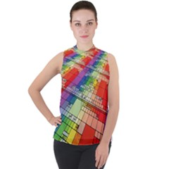 Perspective Background Color Mock Neck Chiffon Sleeveless Top by Alisyart