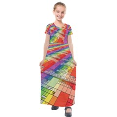 Perspective Background Color Kids  Short Sleeve Maxi Dress