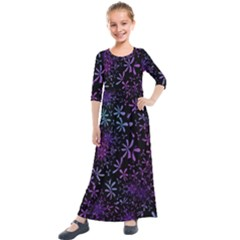 Retro Flower Pattern Fllower Kids  Quarter Sleeve Maxi Dress