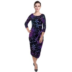 Retro Flower Pattern Fllower Quarter Sleeve Midi Velour Bodycon Dress by Alisyart
