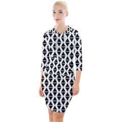 Triangle Seamless Pattern Quarter Sleeve Hood Bodycon Dress