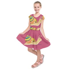Snail Color Nature Animal Kids  Short Sleeve Dress by Alisyart