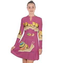 Snail Color Nature Animal Long Sleeve Panel Dress by Alisyart