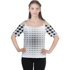 Square Center Pattern Background Cutout Shoulder Tee