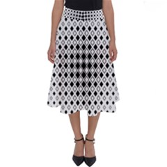 Square Center Pattern Background Perfect Length Midi Skirt
