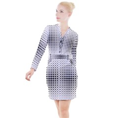 Square Center Pattern Background Button Long Sleeve Dress
