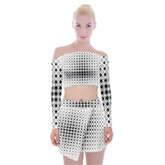 Square Center Pattern Background Off Shoulder Top With Mini Skirt Set