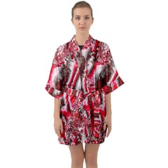 Winter Fractal 5 Quarter Sleeve Kimono Robe by Fractalworld