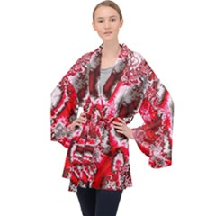 Winter Fractal 5 Velvet Kimono Robe by Fractalworld