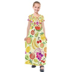 Seamless Pattern Desktop Decoration Kids  Short Sleeve Maxi Dress by Pakrebo