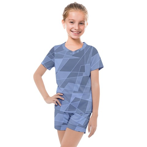 Lines Shapes Pattern Web Creative Kids  Mesh Tee And Shorts Set by Pakrebo