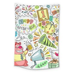 Doodle New Year Party Celebration Large Tapestry