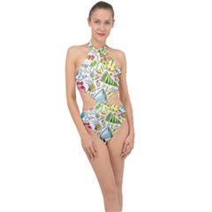Doodle New Year Party Celebration Halter Side Cut Swimsuit