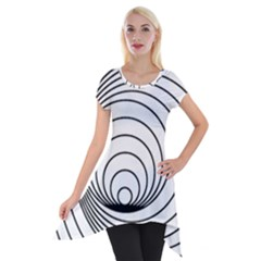 Spiral Line Short Sleeve Side Drop Tunic