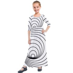 Spiral Line Kids  Quarter Sleeve Maxi Dress by Jojostore
