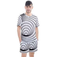 Spiral Line Men s Mesh Tee And Shorts Set