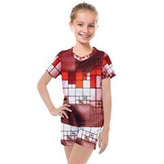 Pattern Structure Light Patterns Kids  Mesh Tee And Shorts Set