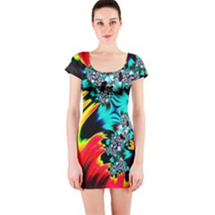 Fractal Mandelbrot Art Wallpaper Short Sleeve Bodycon Dress