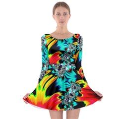 Fractal Mandelbrot Art Wallpaper Long Sleeve Skater Dress