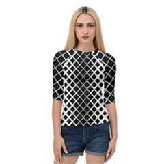 Square Diagonal Pattern Black Quarter Sleeve Raglan Tee