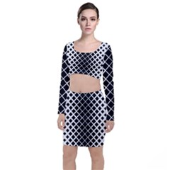 Square Diagonal Pattern Black Top And Skirt Sets