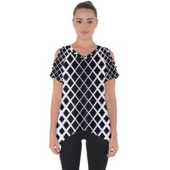 Square Diagonal Pattern Black Cut Out Side Drop Tee