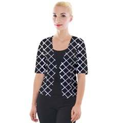 Square Diagonal Pattern Black Cropped Button Cardigan
