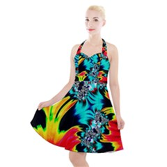 Fractal Mandelbrot Art Wallpaper Halter Party Swing Dress