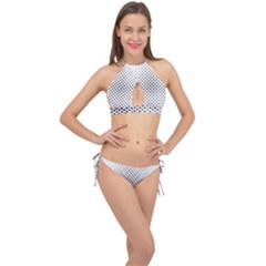 Star Curved Pattern Cross Front Halter Bikini Set