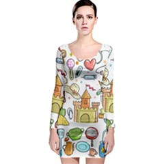 Baby Equipment Child Sketch Hand Long Sleeve Bodycon Dress