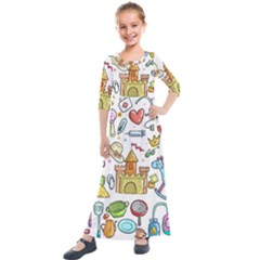 Baby Equipment Child Sketch Hand Kids  Quarter Sleeve Maxi Dress by Pakrebo