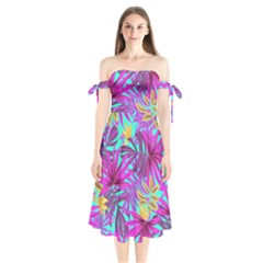 Tropical Pink Leaves Shoulder Tie Bardot Midi Dress by Jojostore