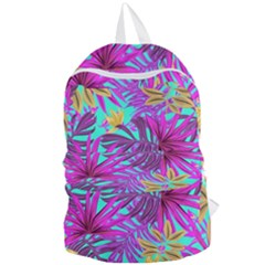 Tropical Pink Leaves Foldable Lightweight Backpack by Jojostore