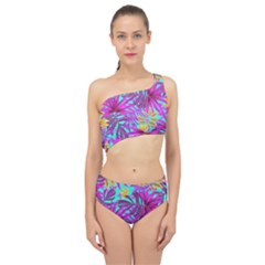 Tropical Pink Leaves Spliced Up Two Piece Swimsuit by Jojostore
