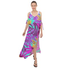 Tropical Pink Leaves Maxi Chiffon Cover Up Dress