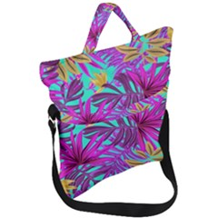 Tropical Pink Leaves Fold Over Handle Tote Bag by Jojostore