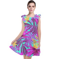 Tropical Pink Leaves Tie Up Tunic Dress