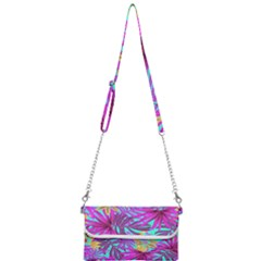 Tropical Pink Leaves Mini Crossbody Handbag by Jojostore