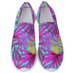 Tropical Pink Leaves Men s Slip On Sneakers by Jojostore