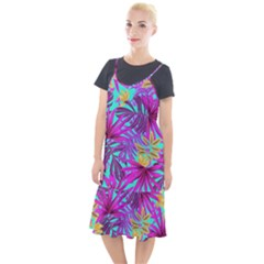 Tropical Pink Leaves Camis Fishtail Dress by Jojostore