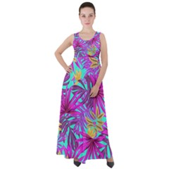 Tropical Pink Leaves Empire Waist Velour Maxi Dress by Jojostore