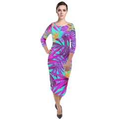 Tropical Pink Leaves Quarter Sleeve Midi Velour Bodycon Dress by Jojostore