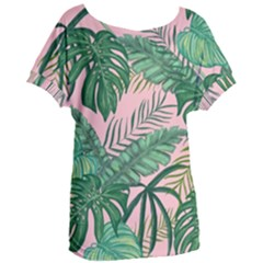 Tropical Greens Leaves Women s Oversized Tee by Jojostore