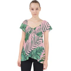 Tropical Greens Leaves Lace Front Dolly Top